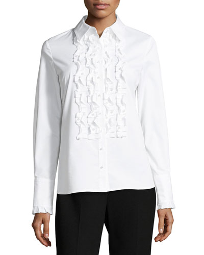 Juliette Long-Sleeve Ruffled Silk Blouse