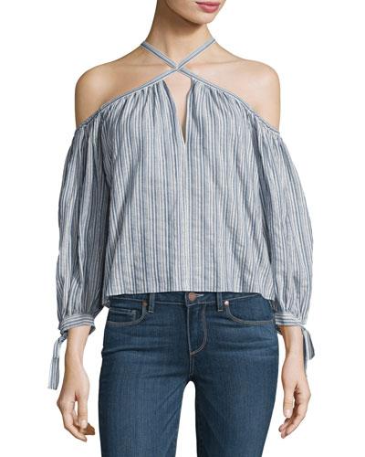 Off-the-Shoulder Stripe Cotton Top, Multi