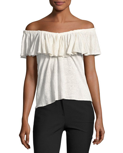 On/Off-The-Shoulder Jersey Top, White