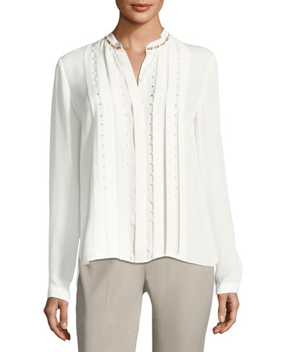 Fontaine Long-Sleeve Pleated Beaded Blouse