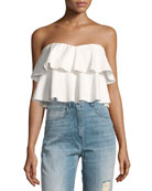 Strapless Tiered Ruffle Crop Top, White