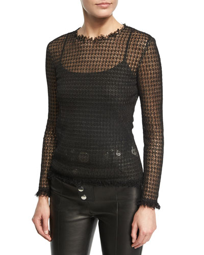 Raw-Edge Long-Sleeve Mesh Tee, Black