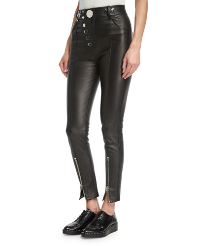 High-Waisted Leather Leggings With Multi-Snap Detail, Black