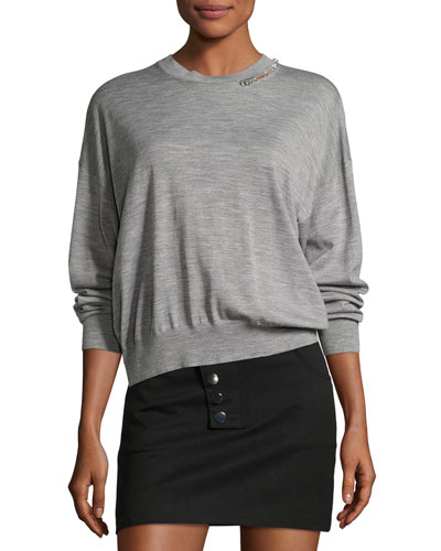 Pierced Merino Wool Crewneck Pullover, Light Gray