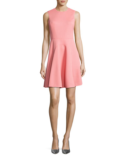 Textured Sleeveless Fit & Flare Dress, Pink/Orange