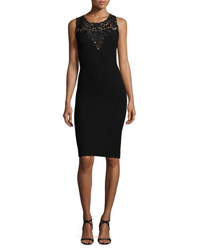 Sleeveless Lace-Yoke Crepe Sheath Dress