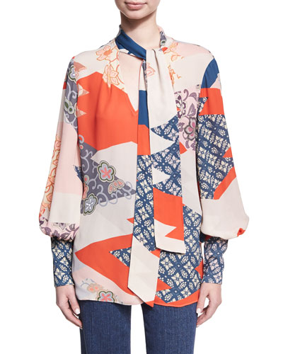 Tie-Neck Geometric Patchwork-Print Blouse