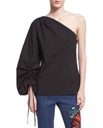 One-Shoulder Balloon-Sleeve Poplin Top