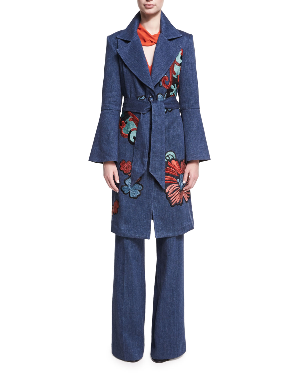 Embroidered Denim Trench Coat