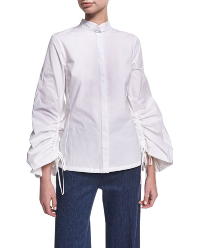 Balloon-Sleeve Poplin Top