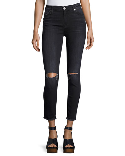 High-Waist Ankle Skinny Jeans, Dark Gray