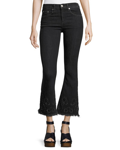 High-Rise Crop Flare Denim Jeans, Black