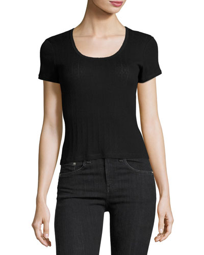 Alicia Scoop-Neck Crop Tee, Black
