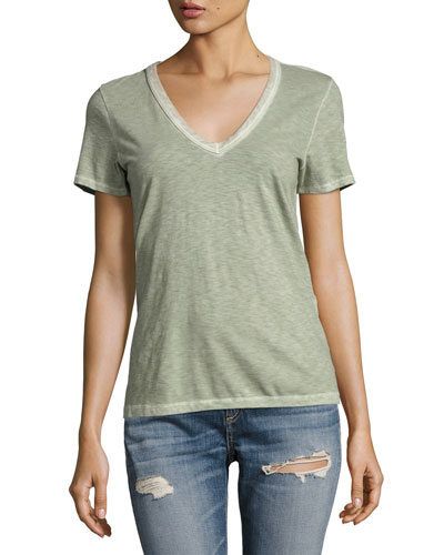 Sublime Wash V-Neck Tee, Green