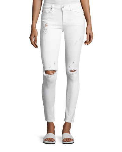 Nico Mid-Rise Super Skinny Distressed Jeans, White