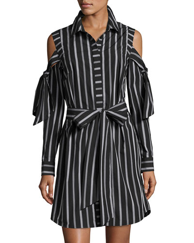 Riley Cold-Shoulder Striped Cotton Shirtdress, Black