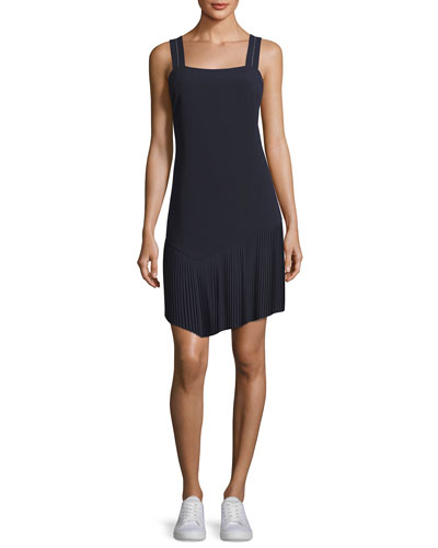 Tank Dress w/ Asymmetric Pleated Hem, Midnight