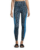 Lux Droplets Print Ladder Midi Legging, Blue