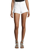 Justine High-Rise Cutoff Jean Shorts, White