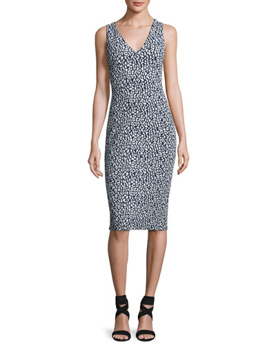 Sleeveless Sporty Jacquard Sheath Dress, Navy