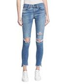 Low-Rise Distressed Denim Jeans, Indigo