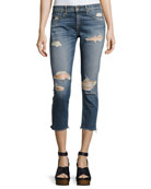 Dre Capri Distressed Denim Jeans, Indigo