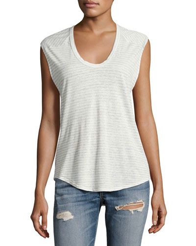 Valley Striped Linen-Blend Top, Gray
