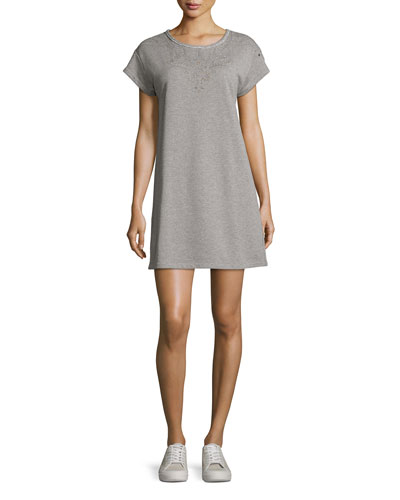 Eyelet Short-Sleeve Tee Cotton Dress, Gray