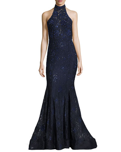 Sleeveless Beaded Lace Mermaid Gown, Navy