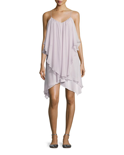 All This & Heaven Too Silk Layered Dress, Antiqued-White