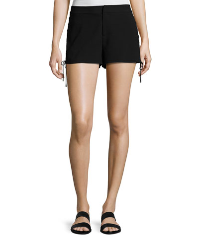 The Getaway Lace-Up Side Shorts, Black