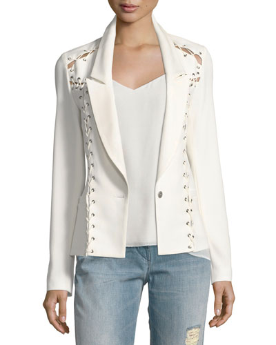 Fitted Lace-Up One-Button Blazer, White