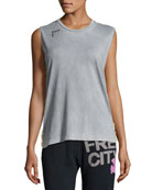 Rise Golden Pins Sleeveless Tee, Gray