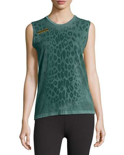 Leopard Goldenline Sleeveless Tee, Green