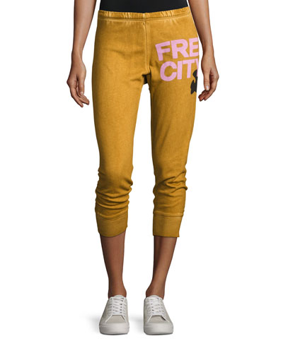Freecity Three-Quarter Cotton Jogger Pants, Orange