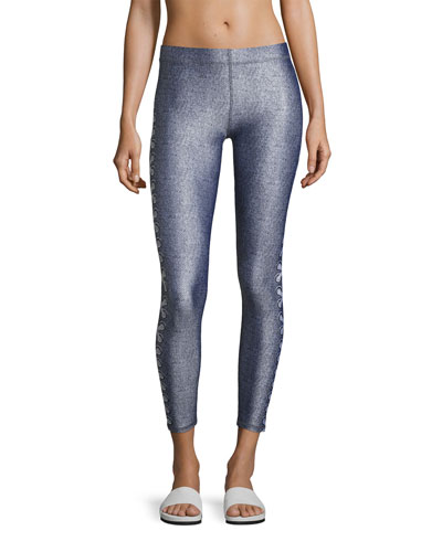 Side-Lace Denim Performance Leggings, Blue