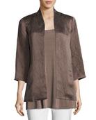 Organic-Linen/Silk Satin Jacket, Plus Size