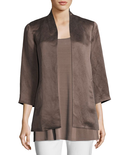 Organic-Linen/Silk Satin Jacket, Plus Size
