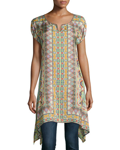 Kuba Georgette Printed Tunic, Plus Size