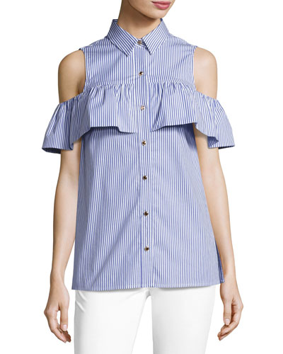 Cold-Shoulder Striped Flounce Button-Front Top, Tide Blue