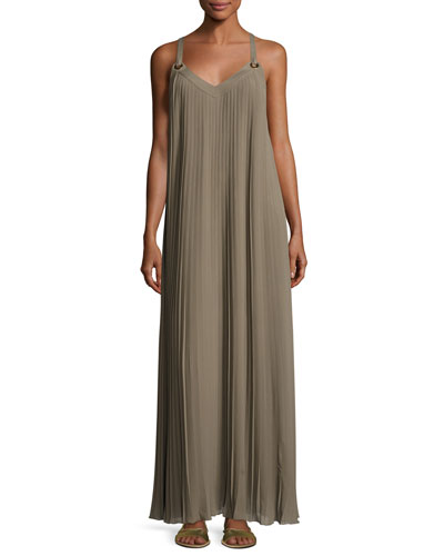 Grommet-Trim Pleated Maxi Dress