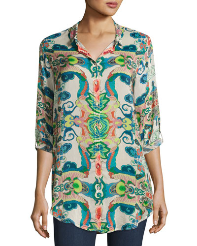Johnny Was Teeteem Printed Georgette Blouse, Plus Size