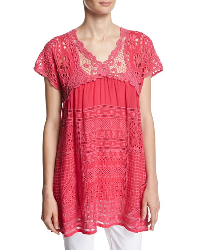 Terra Crocheted Georgette Blouse, Ultra Pink