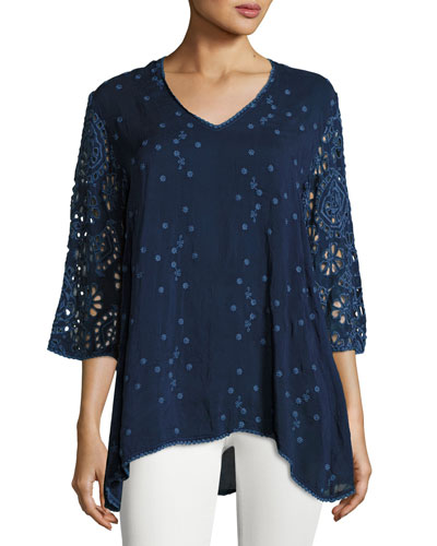 Asya V-Neck Georgette Top, Blue Night, Plus Size