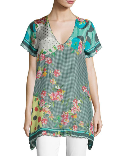 Freemont Scalloped Silk Habutai Tunic, Plus Size