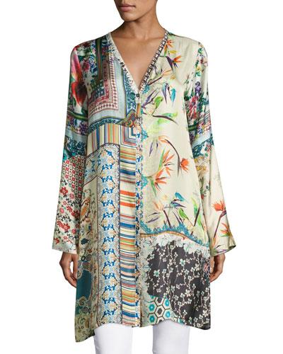 Silverette Long Silk Button-Front Cardigan, Plus Size