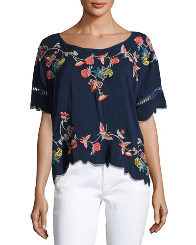 Alivia Embroidered Blouse, Blue Night