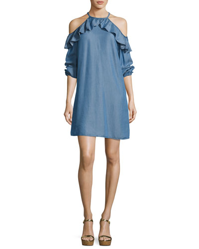 Cold-Shoulder Ruffled Chambray Dress