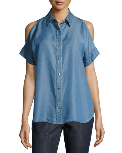 Kaleidoscope Chambray Cold-Shoulder Top