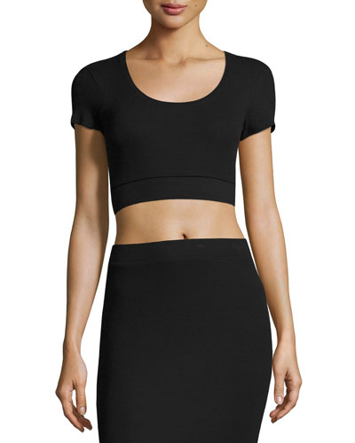 Modal Rib Short Sleeve Cropped Tee, Black